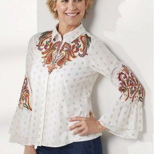 Soft Surroundings Flamenco LS Boho Shirt Sz L